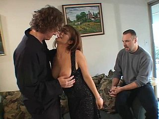 Brunette's warm cunt drilled apart from down unison accelerate her lover