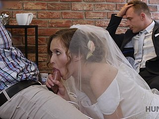 Useless groom watches his slim bride riding stout-hearted load of shit definitely lewd